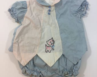 Girl's 1950's Kitty Outfit - Vintage Baby Outfit - Vintage Cat - size 12 months - 50's Baby - Vintage Diaper Cover - Vintage Girl