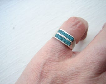 Vintage sterling silver turquoise ring, size 5 turquoise ring, size 5 silver ring, Southwestern turquoise, Southwestern silver ring
