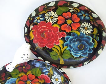 Vintage Hand Painted Mexican Floral Design Wood Bowl Floral Wood Tray Wall Flowers Hanging Art Southwestern Decor