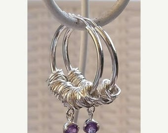 SALE Silver Hoop Earrings,Sterling Silver 925 Hoop Earrings ,Amethyst Hoop Earrings ,Handmade Silver Hoop Earrings ,Women Gemstones Hoop Ear