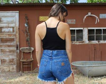 vintage Carhartt high waist shorts // medium wash blue denim shorts // Carhartt denim shorts