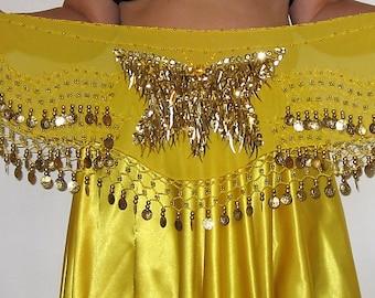Belly dance hip scarf, Belly dancing belt,  Yellow hip scarf,Gypsy hip scarf,Yellow belly dancing hip scarf, Belly dance belt, Sequin belt