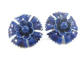 Blue Flower Earrings Enamel Clip on Style