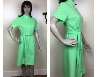 VIntage 60s Mod Dress , Military  , Mint Green Secretary  , 1960s mini Space Age dress  small medium