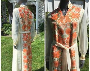 Vintage  Hawaiian Maxi Dress, Shaheen asian wedding dress , long sleeve
