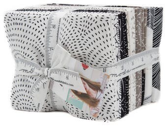 22 CATNIP by Gingiber for Moda Black White Fabric FQ Fat Quarter Bundle with 2 Full Panels