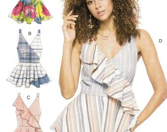 SUMMER PEPLUM/Flounced TOPS McCall's Pattern 7602 Misses Sizes 6 8 10 12 14