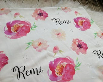 Personalized baby name elegant floral swaddle blanket for newborn or hospital pictures: baby personalized name newborn hospital gift baby