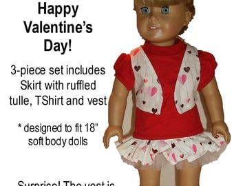 """Valentine's Day Outfit Handmade by Made Magical designed to fit 18"""" Dolls such as American girl"""