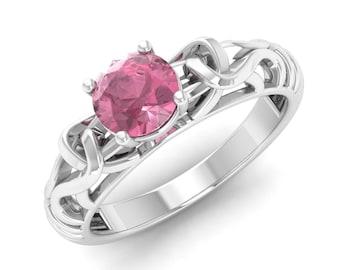 Natural Pink Tourmaline Ring, 14K White Gold, Solitaire Engagement Ring, Wedding Ring, Anniversary Ring, Promise Ring, Pink Gemstone Ring