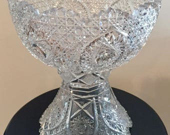 Vintage Etched Crystal Punchbowl with Pedestal Stand
