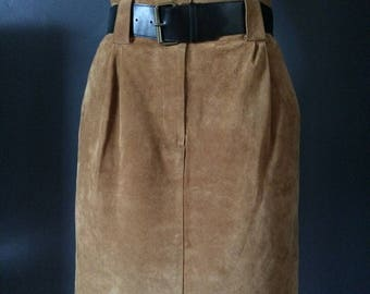 Vintage Suede Skirt, High Waist, Fully Lined, Size Small