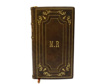 French Antique Leather Bound Prayer Book. Roman Catholic Missal Book with Monogram Initial MR. Confirmation Gift for Catholic.