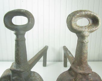 Antique Cast Iron and Forged fireplace Andirons. Decorative addition for your fireplace