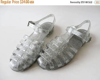 CIJ SALE Glittering Silver Jelly Sandals Summer Rain Shoes Transparent Shoes Sparkle Jelly Shoes Boho Hippie Beach Slingback Size UK 4 Eur 3