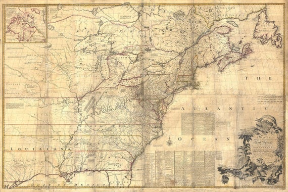 Giant Historic 1757 wall Map of British French Colonial map North America OLD map of New England Coast Restoration Hardware Style map Print