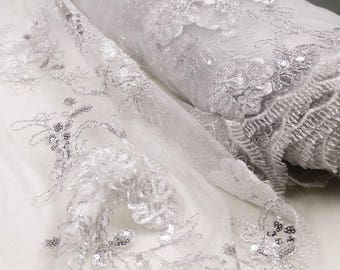 Off White Silver Embroidered Floral Sequin Lace Fabric Wedding Bridal Decoration Special Occasion Dress Fabric by the yard - Style 2407