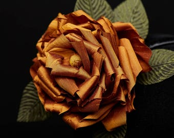 Bronze Gold Silk Taffeta Rose Headband - Elegance Headdress Floral adornment Green Leaves Unique Piece