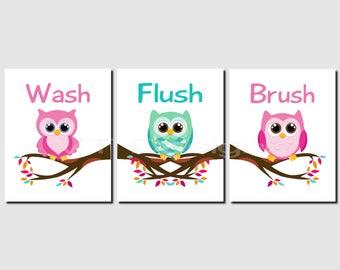 Kids Bathroom Decor, Owl Bathroom Art, Wash Brush Flush, Woodland Animals  Bathroom,