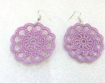 jewelry, crochet, earrings circle, purple,  valentine gifts, handmade jewelry, crocheted jewelries