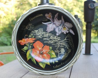 Vintage Black Metal Hawaii Bowl Hawaiian Island Souvenir Decorative Tin Bowl