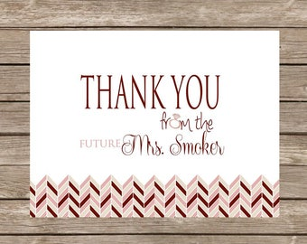 Blush Future Mrs. Bridal Herringbone Thank You Notecards - Set of 20