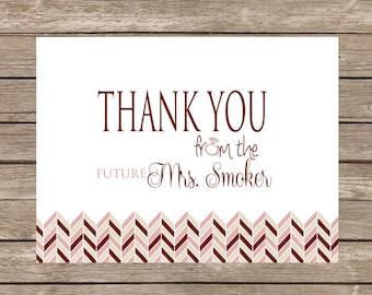 Blush Future Mrs. Bridal Herringbone Thank You Notecards - Set of 20