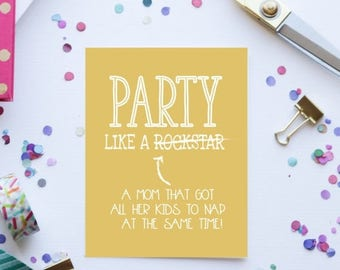 ON SALE Funny Card for Mom | Party Like a Rockstar Card | Birthday Card for Mom | Greeting Card for Mom | Rockstar Mom Card | Mom Birthday C