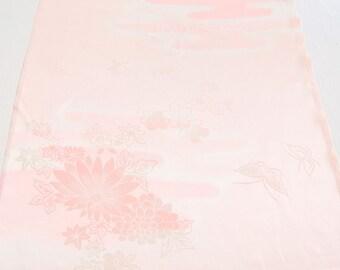 Pink Soft Japanese Juban Kimono Silk Fabric Flowers Haze Butterfly M197