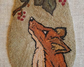 The Fox and The grapes rug hooking hanging pocket