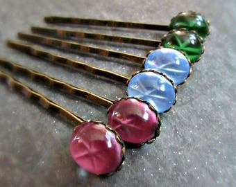Star Sapphire Hair Pins in Oxidized Brass (Set of 2)- Red Star Ruby, Green Star Emerald or Blue- Gothic Victorian Edwardian Jewelry