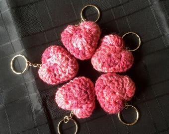 Crochet Heart Keyring - Pink