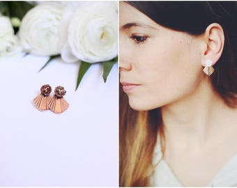 Earrings Ear Ora golden rose and stone