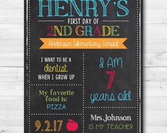 First Day of School Chalkboard Sign - Yearly Back to School Sign