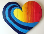 "3-4 WEEK WAIT // Wave Rainbow Pallet 20"" Wood Heart woodart ,wall hanging , beach art, reclaimed wood, pallet wood, multicolor, spring dec"