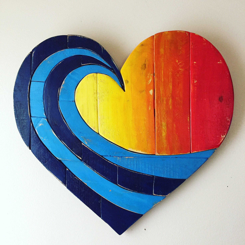 wave rainbow pallet wood heart woodart wall hanging beach