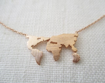 World map necklace etsy world map necklace globe necklace gold rose gold or silver world necklace gumiabroncs Image collections