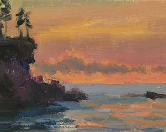 Ocean sunset - Original contemporary Landscape painting - Oil Painting