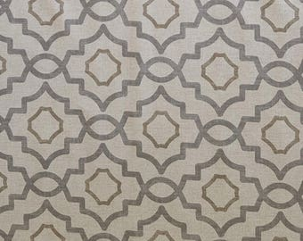Magnolia Home Fashions Stan Cathell TALBOT Metal Trellis Upholstery Fabric NEW By The Yard BTY Grey Beige Cream
