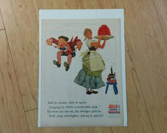 Vintage Jack be Nimble, Jack be Quick Jell-O Magazine Advertisement from the 1940's - Retro Kitchen - Perfect for Framing