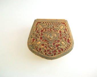 Vintage Jewelry Box, Gold Jewelry Box, Vintage Trinket Box, Gold Trinket Box, Heart Jewelry Box, Red Jewelry Box, Red Trinket Box, Gift Box