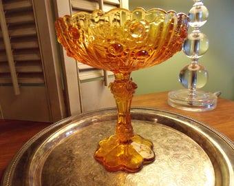 FENTON Amber GLASS COMPOTE,  Fenton Cabbage Rose Pattern, Amber Pedestal Servingware