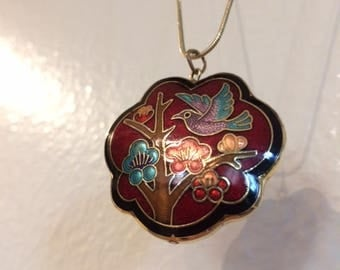 Asian Bird Necklace - Dark Red and Gold