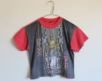 YOUTH SMALL (5/6) Vintage 1990s Star Wars C3PO R2D2 T-Shirt