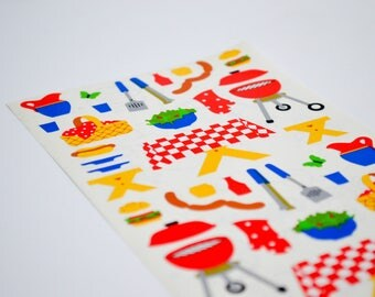 90s Sticker Sheet / Mrs. Grossman's Stickers / New Old Stock Scrapbooking Stickers // Picnic - Summer - Barbeque - Hot Dogs - Burgers