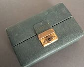 Vintage Boswell Green Leather  Travel Jewellery Box