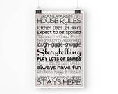 Grandparents' House Rules - Paper Poster - 11x17 Inches