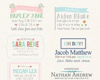 ON SALE Birth announcement overlays - digital word overlays - word overlay templates