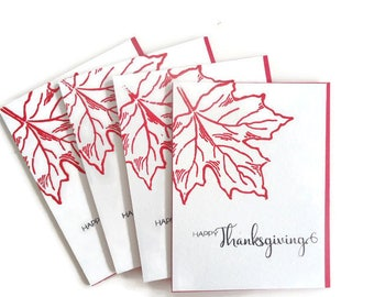 Happy Thanksgiving - beautiful red heat embossed set of 4 handmade cards - Maple leaf cards - Shiny glossy red leaf - Elegant art cards!