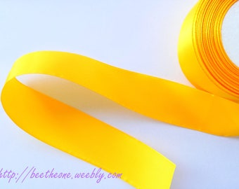 Satin Ribbon - 40 mm x 1 m - yellow orange - for wedding, decoration, customization, sewing, scrapbooking...
